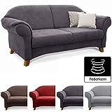 Cavadore 3-Sitzer Sofa Maifayr mit Federkern / Kleine Couch im Landhausstil mit Holzfüßen / 194 x 90 x 90 / Grau