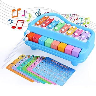 SGILE Piano de Jouet pour Tous-petits Bébé, Musical Clavier et Tambour Instrument Multifonctionnel avec Lumière et Musique, Cadeaux pour les Garcon et Fille