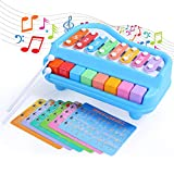 SGILE 2 in 1 Knocked Xylophone Piano for Kids, 8 Key Scales Musical Instruments Toyset Toy with 6 Music Scores, Early Education Keyboard for 1 2 3 Year Olds Baby Toddler, No Batteries Needed