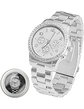 Taffstyle® Elegante Damenarmbanduhr Analog Uhr Designer Strass Kristall Zirkonia Damenuhr Chronograph Armbanduhr...