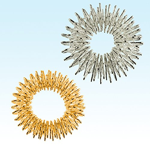 1 Coppia di anelli per massaggi Yin & Yang, oro & argento, per massaggio delle dita o del piede preisvergleich