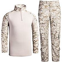 Lanbaosi Chemise de Combat Militaire Homme Uniforme Tactique Séchage rapide  à Manches Longues   Pantalon Costume f604f180e99