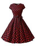 Dressystar DS1956 Robe à 'Audrey Hepburn' Classique Vintage 50's 60's Style à Mancheron Noir à Pois Rouge B M