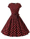 Dressystar Damen Vintage 51er Cap Sleeves Dot Einfarbig Rockabilly Swing Kleider Schwarz Rot Dot B XXXL