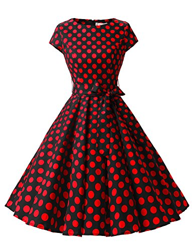 Dressystar Damen Vintage 50er Cap Sleeves Dot Einfarbig Rockabilly Swing Kleider Schwarz Rot Dot B ()