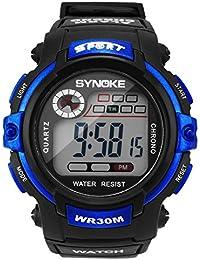 Hombres chico Digital LED luminoso de acrílico alarma reloj azul