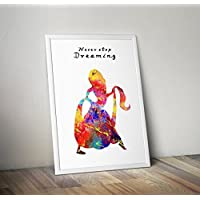 Tangled Inspired Watercolour Poster Print gifts - Alternative TV/Movie Posters in Various Sizes(Frame Not Included)