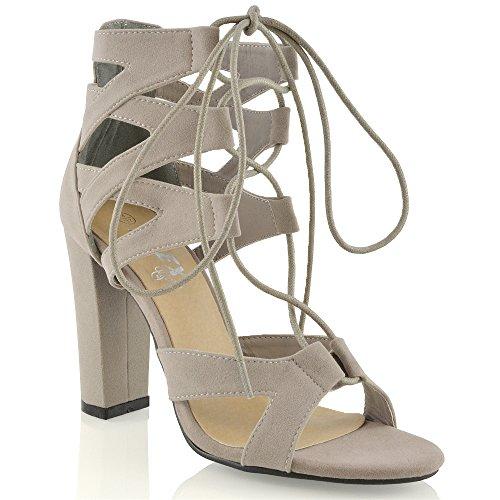 ESSEX GLAM Damen schnitten ferse Pfennigabsatz Sandalen im Gladiatorstil zum Schnüren Zehenfrei sandalen Grau Wildlederimitat
