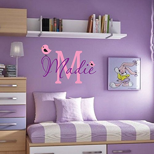 happygoluck1y personalisiert Name Cute Birds Wand Aufkleber für Teen Mädchen Schlafzimmer 165,3