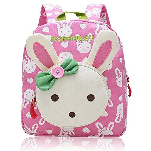 Vox Niedlich Bär Hase Tiere Kleiner Kinderrucksack Canvas Kindergartenrucksack Tasche Mädchen Jungen Babyrucksack Outdoor Schultasche Backpack für 1-6 Jahre Alte Baby Zum Wandern (Pink)