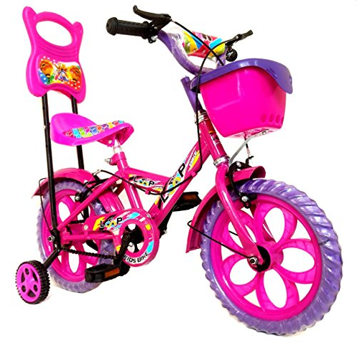 Loop Cycles Master Blaster Y Frame 14 Inches Bicycle For Kids 3 to 5 Years Unisex With Side Wheels & Basket (Pink Purple)
