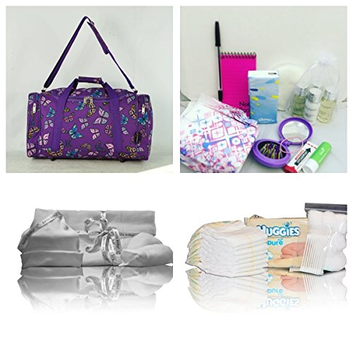 Luxury Baylis & Harding pre-packed hospital/maternity bag/holdall for Mum & Baby - purple butterfly NEXT WORKING DAY* DELIVERY AVAILABLE (order by midday UK Mainland)
