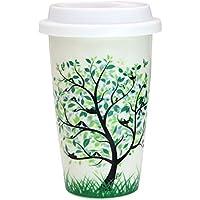 Bidear Taza de Aislado viaje, Mug de Doble Pared Cerámica con Tapa de Silicona para Café Espresso Leche Té Bebidas Calientes (350 ML)