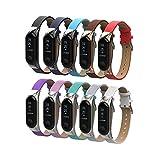 Altsommer für Xiaomi Mi Band 3 Armband,Leder Aarmbänder mit Metallgehäuse, Lederarmband mit Schnellverschluss Ersatzband für Herren Damen, für Xiaomi Mi Band 3 mit Multi Farben (Grau)