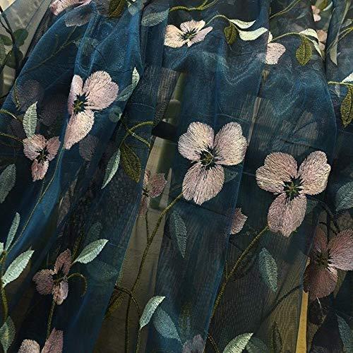 PENVEAT Floral bestickte Schiere Tüll Vorhänge für Wohnzimmer Mädchen Jacquard pastoralen Fenster Vorhang für Schlafzimmer Vorhänge Cortinas, blau, B200cm x H250cm, Pull Plissee Tape