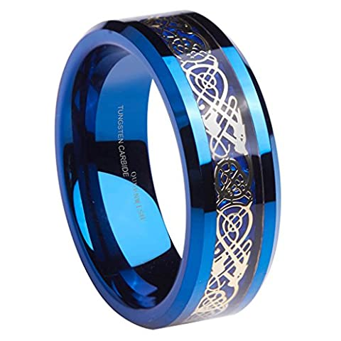 Queenwish Wedding Band,8mm Gold Celtic Dragon Blue Carbon Fiber Inlay Tungsten Engagement & Promise Rings Jewelry for Men Women Size 10