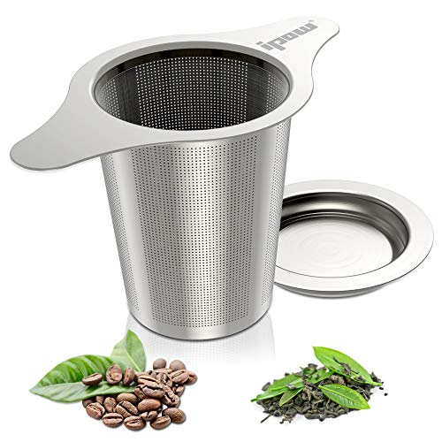 [2019 New Version] Ipow 18/8 Stainless Steel Tea Infuser Strainer with Lid and Two Handles for Mugs, Teapots, Cups,Coffee