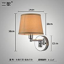 Lilamins Camera da letto,soggiorno,Studyroom testata del letto Lampada da parete con una parete girevole Lampthatchrome colore giallo (M)