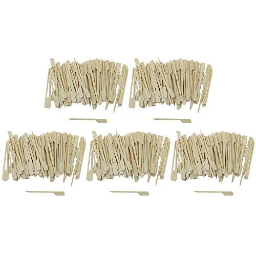 Com-Four 500x amuse-bouches brochettes avec poignées en bois bambou, env. 9cm