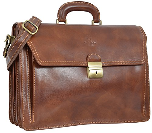 "Gusti Cuir studio ""Clemens"" sac business made in Italy sac bureau attache-case en cuir véritable sac notebook ordinateur portable 15,4"" sac professeur hommes femmes marron 2B30-93-3"