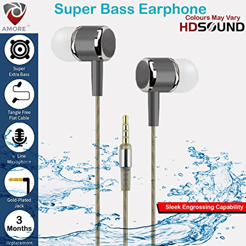 Amore™ Sony Xperia XA Compatible Stereo Earphone Hands-Free 3.5Mm Jack In-Ear Super Extra Bass Headphone Headset With Mic Compatible with and All Mobiles (Colours May Vary)  available at amazon for Rs.199