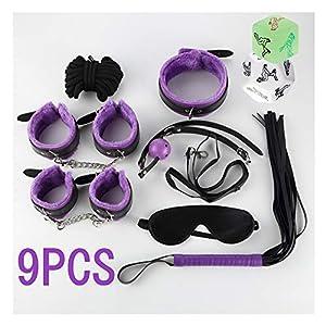 [9pcs] Weiche, einstellbare Ledermanschetten-Sets passen für jede Größe, Violett