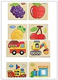 Holzpuzzles Puzzles Holzbrett Spielzeug Lernspielzeug Staffelei Doodle Lernspiel Spiel für Kinder Jungs Mädchen 1 2 3 4 5 Jahren Alt 8 Stück (Set 3)
