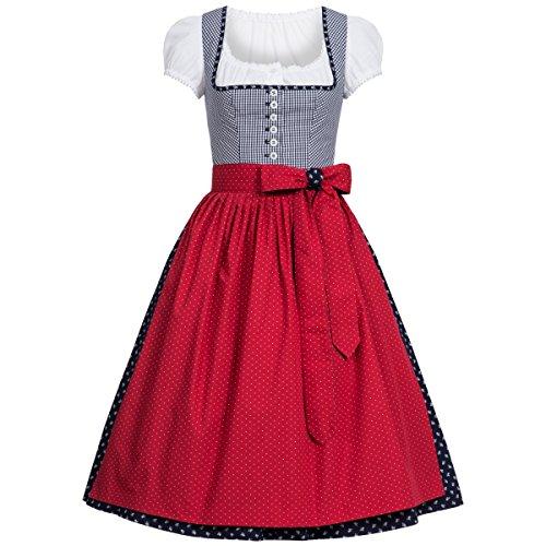Midi Dirndl Paula in Dunkelblau inklusive Bluse von Berwin und Wolff, Größe:32, Farbe:Dunkelblau