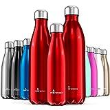 Proworks Edelstahl Trinkflasche | 24 Std. Kalt und 12 Std. Heiß - Premium Vakuum Wasserflasche - Perfekte Isolierflasche für Sport, Laufen, Fahrrad, Yoga, Wandern und Camping - 500ml - Rot