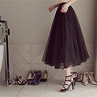Yesiidor Women Tulle Mesh Long Skirt Fluffy Elastic Muti Layered Ruffle Frilly Bridal Mesh Petticoat Skir