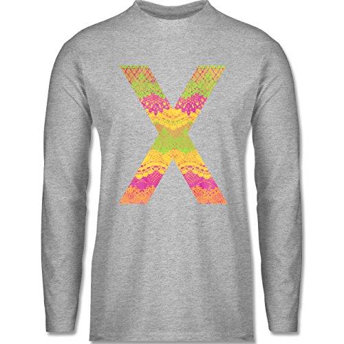 Shirtracer Statement Shirts - Neon Lace X - Herren Langarmshirt Grau Meliert