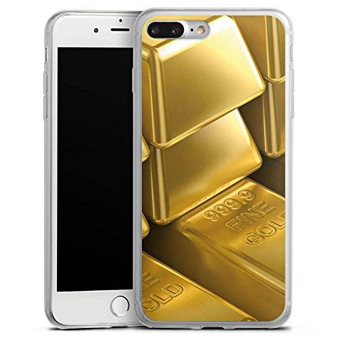 Apple iPhone 8 Slim Case Silikon Hülle Schutzhülle Goldbarren Gold Barren Silikon Slim Case transparent