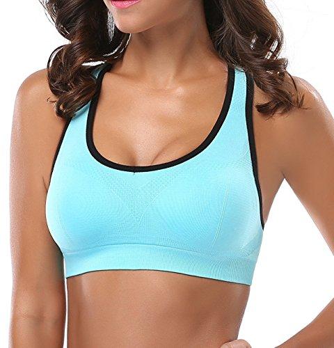 ANGOOL Damen Komfort Klassische Racerback Sport BH Top Fuer Yoga Fitness-Training Schwarz+grau+azurblau