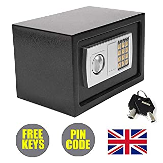 Digital Electronic Safe Box 8.5L Security Steel Small Home Office Safety Case with Two Backup Keys 2 Locking Bolts, Black (7.9 * 12.2 * 7.9in)
