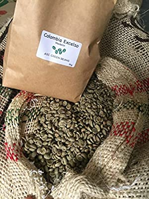 Colombian Excelso Green Coffee Beans - Unroasted - Perfect for Home Roasting (1kg) from ASC green beans
