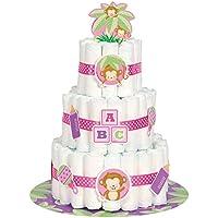 Kit torta di tovaglioli per baby shower, motivo scimmietta, per bambine, confezione da 25 - Diaper Cake Baby Shower Centrotavola