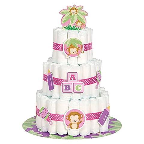 Girl Monkey Baby Shower Nappy Cake Kit, Set of 25