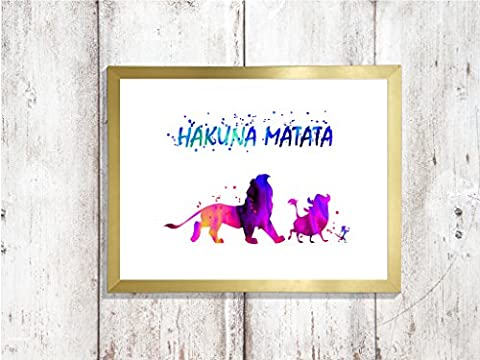 hakuna matata lion king a4 glossy print poster UNFRAMED picture nursery gift watercolour paint