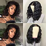 Fureya Hair Short Bob Glueless Lace Front Wigs for Women Natural Curl Heat Resistant Fiber with Baby Hair Synthetic 14 inch Black Lace Wigs
