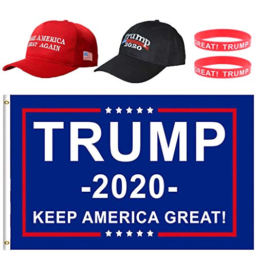 BraveWind Make America Great Again Hat The Ultimate Republiccan Donald Trump USA Cap Adjustable Baseball Hats for Men Women 3 Pack-hat and Flag