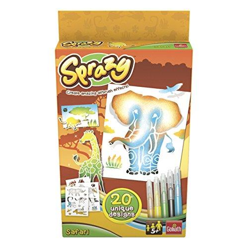 Goliath 35203 - Sprazy Refill Safari, Airbrush Nachfüll-Set mit Schablonen und Stiften, Kreativer Malspaß für Jung und Alt, ab 4 Jahren