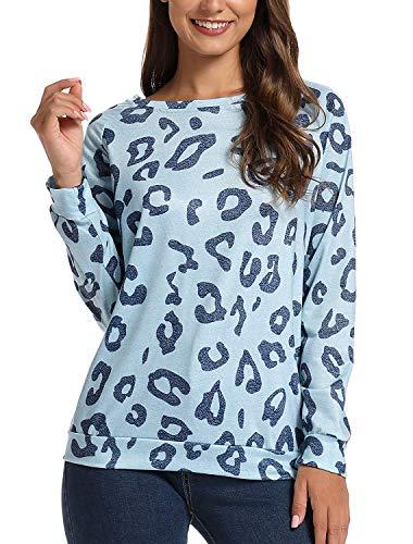 NORA TWIPS Damen Langarmshirt Casual Sweatshirt Leopard T-Shirt Rundhals Blusen Top Pullover Oberteile mit Taschen
