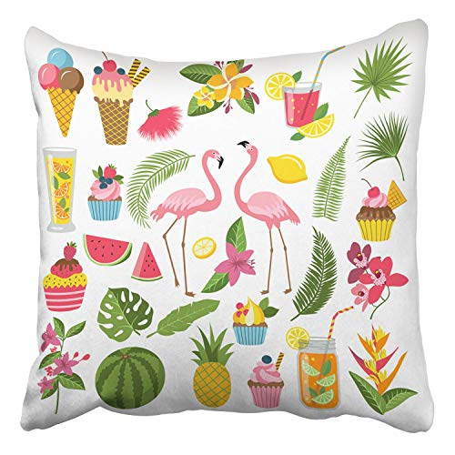 Covers Summer Time Labels Set for Tropical Party Different Icons In Flat Style Decor Pillowcases Polyester Square Hidden Zipper Home Cushion Decorative Pillowcase 18x18 inch ()