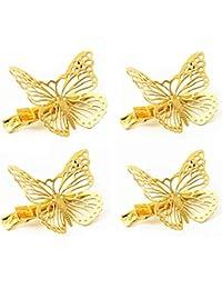 qtmy Pack de 4Golden hueca Metal mariposa pelo clip accesorios para el pelo
