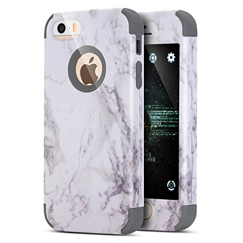 iPhone 8 Plus Hülle,iPhone 7 Plus Hülle,Handyhülle iPhone 8 Plus / 7 Plus Silikon Hülle,ikasus® [Heavy Duty Full-body] Marble Marmor Muster Hybrid Outdoor Dual Layer Armor Hülle Case Handy Schutzhülle Grau