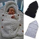 Neugeborenes Babydecke Wrap Swaddle Decke, SOONHUA Baby Kinder Kleinkind Wolle Knit Decke Swaddle Schlafsack Schlaf Sack Stroller Wrap für 0-12 Monate Baby (White) Bild 3