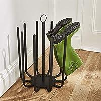 Direct Online Houseware 5 Pair Black Round Boot Shoe Rack Welly Holder Stand Storage Organizer
