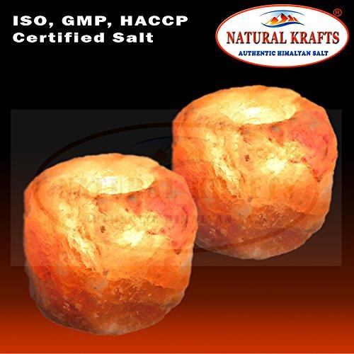 Natural krafts supporto per candele di sale in cristallo di rocca dell'himalaya naturale con luce lenitiva | articolo regalo ideale | confezione da 2 pezzi