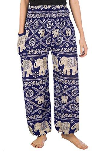 Lofbaz Mujer Elefantes Impresión Smocked Cintura Boho Pantalones Azul OscuroM