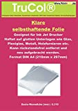 25 Blatt DIN A4 Inkjet Cling Folie klar - Inkjet/Tintenstrahldrucker Fensterfolien selbsthaftend (nicht klebend,somit rückstandslos immer wieder repositionierbar!) Haftet auf jedem glatten Untergrund.